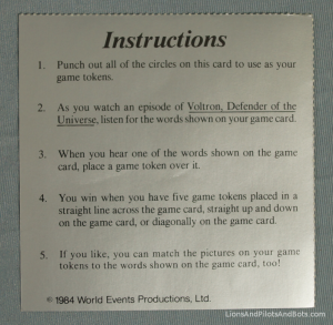 Voltron TeamForce Game Instructions