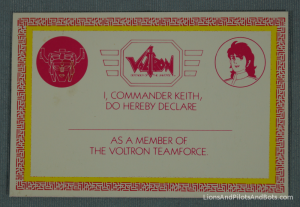 Voltron TeamForce - ID Card (Front)