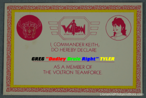 Greg Tyler, Member, Voltron TeamForce!