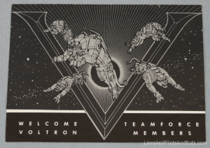 Voltron TeamForce Membership Kit - Welcome Letter (Folded, Front)